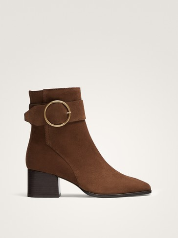 BROWN SUEDE ANKLE BOOTS WITH BUCKLE