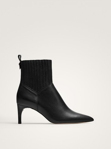 BLACK STRETCH HEELED ANKLE BOOTS