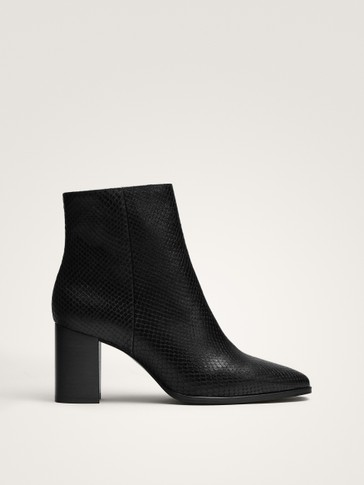Black Animal Print Leather Ankle Boots by Massimo Dutti