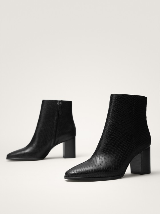 Massimo Dutti - BLACK ANIMAL PRINT LEATHER ANKLE BOOTS - 2
