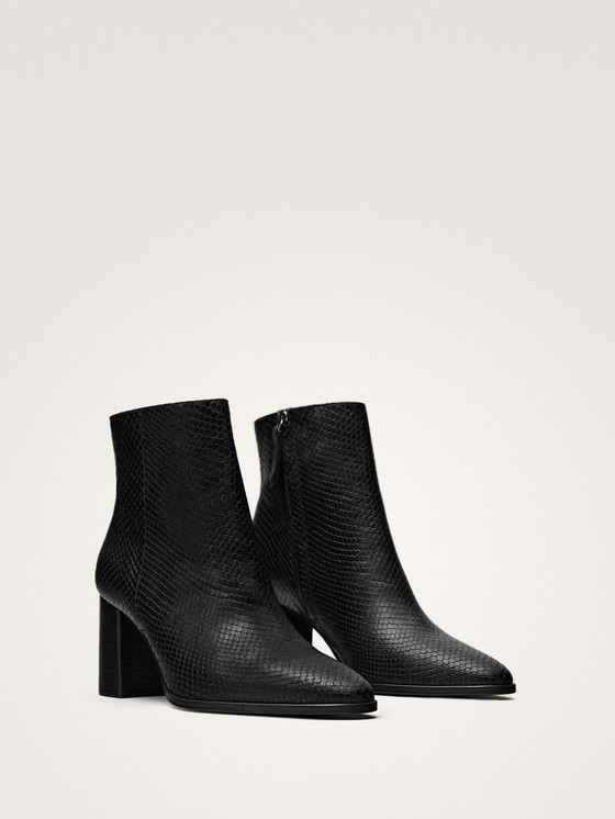 Massimo Dutti - BLACK ANIMAL PRINT LEATHER ANKLE BOOTS - 5