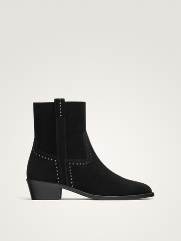 STUDDED BLACK SPLIT SUEDE ANKLE BOOTS