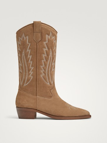 Sand Coloured Split Suede Cowboy Boots by Massimo Dutti