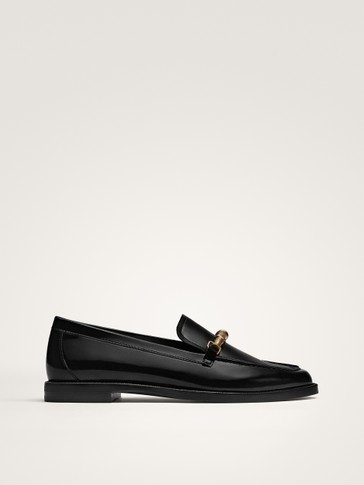 BLACK METALLIC GLOSSY FINISH LEATHER LOAFERS