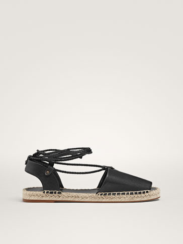 BLACK TIE-UP JUTE D'ORSAY FLATS