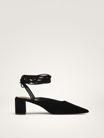 SUEDE BLOCK HEEL SHOES WITH STRAPS