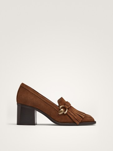 Tan Split Suede Kiltie Court Shoes by Massimo Dutti