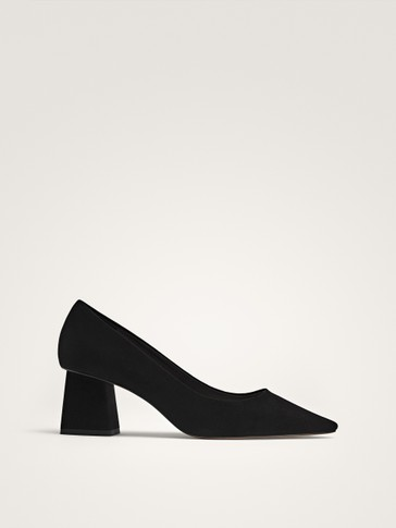 BLOCK HEEL BLACK SUEDE SHOES