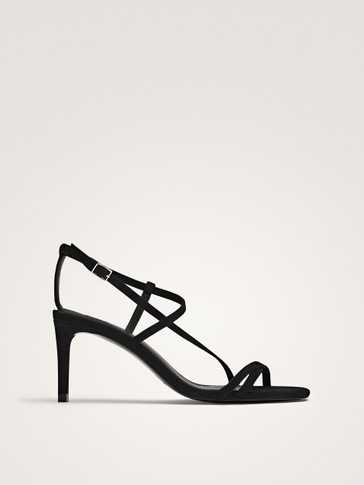 BLACK SUEDE HIGH-HEEL SANDALS