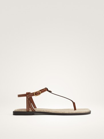 JUTE AND LEATHER SANDALS