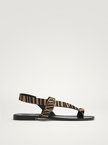 ZEBRA PRINT LEATHER SANDALS
