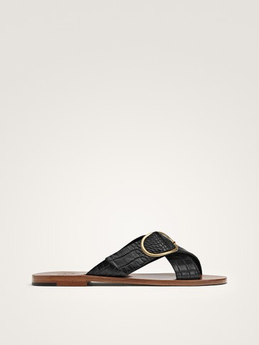 EMBOSSED BLACK LEATHER CRISS-CROSS SANDALS WITH BUCKLE