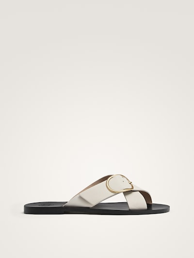 1f99b10b6ef WHITE LEATHER CRISS-CROSS STRAP SANDALS WITH BUCKLE - Women - Massimo Dutti