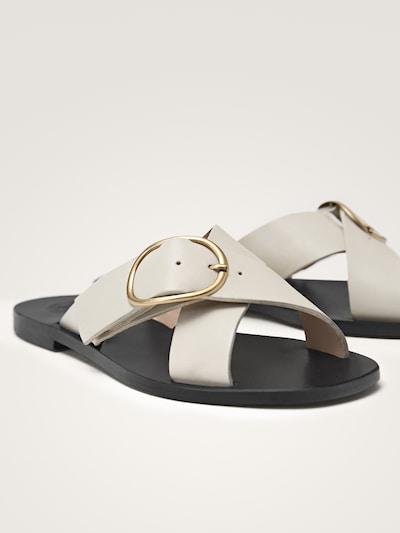cc9ab653a8a WHITE LEATHER CRISS-CROSS STRAP SANDALS WITH BUCKLE - Women ...