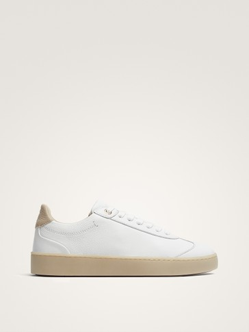 WHITE LEATHER PLIMSOLLS