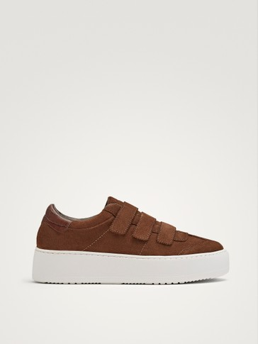 SPLIT SUEDE HOOK-AND-LOOP STRAP PLIMSOLLS