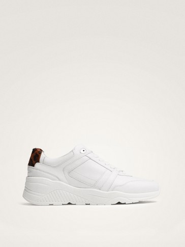 WHITE LEATHER TRAINERS WITH CHUNKY SOLES