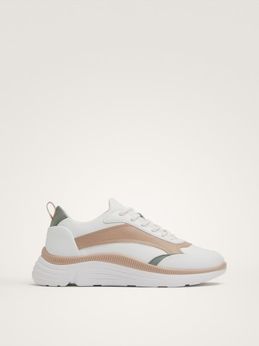 WHITE CONTRAST LEATHER TRAINERS