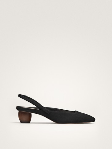 BLACK SUEDE SLINGBACK SHOES WITH BOW DETAIL