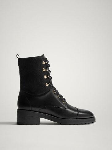 حذاء للكاحل جلدي أسود برباطات