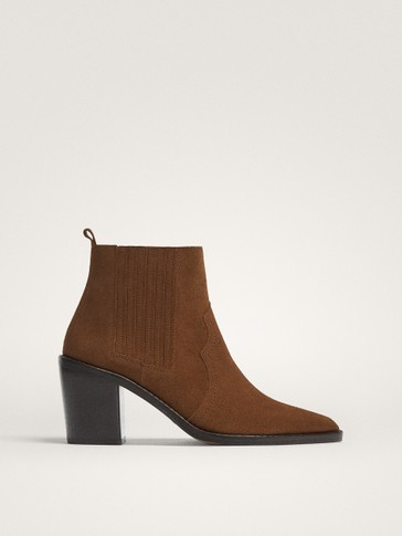 Brown Suede Heeled Ankle Boots by Massimo Dutti