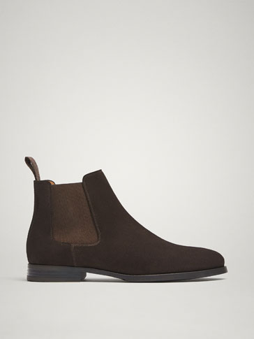 BROWN SPLIT SUEDE LEATHER STRETCH ANKLE BOOTS