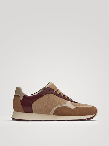 SAND-COLOURED EMBOSSED SPLIT SUEDE TRAINERS