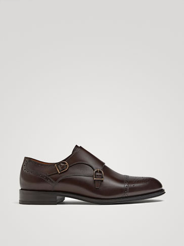 BROWN DOUBLE MONK STRAP SHOES WITH BROGUING