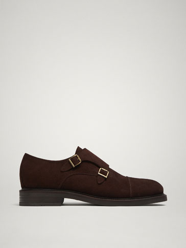 BROWN SPLIT SUEDE DOUBLE MONK STRAP SHOES