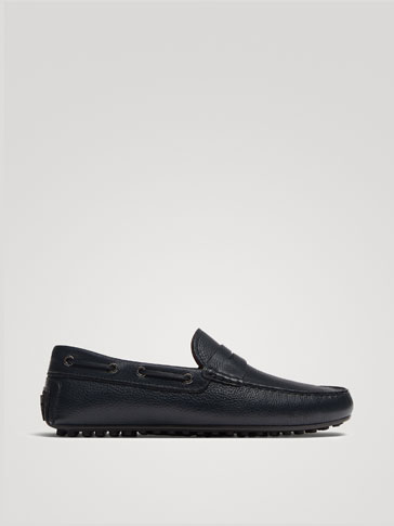 BLUE NAPPA LEATHER LOAFERS