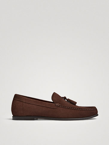 BROWN SPLIT SUEDE LOAFERS