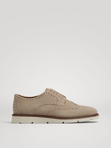 SAND-COLOURED SPLIT SUEDE LEATHER CASUAL SHOES