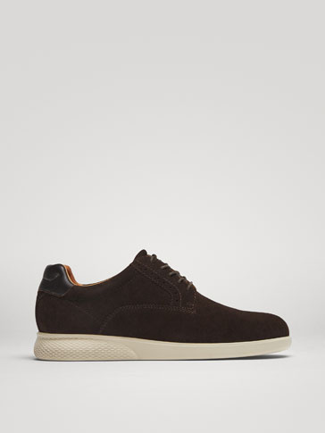 BROWN SPLIT SUEDE LEATHER CASUAL SHOES
