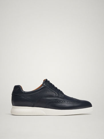 BLUE NAPPA LEATHER CASUAL SHOES
