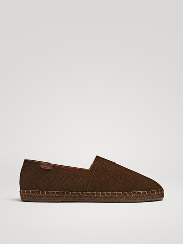 BROWN LEATHER ESPADRILLES