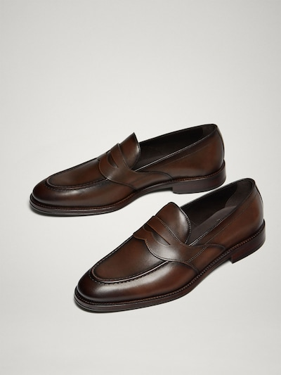 41b0cc5b8d7 BROWN LEATHER PENNY LOAFERS - Men - Massimo Dutti