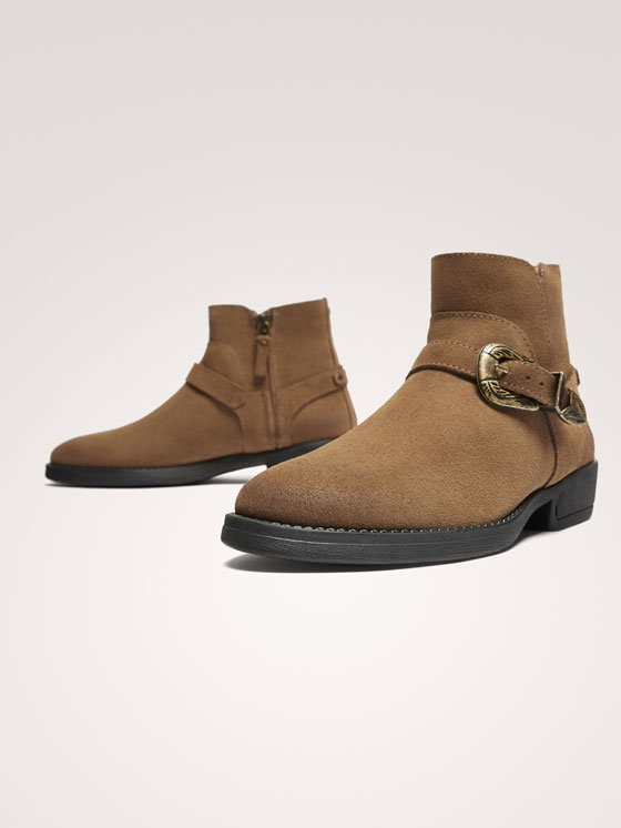 Massimo Dutti - BUCKLED SPLIT SUEDE ANKLE BOOTS - 4