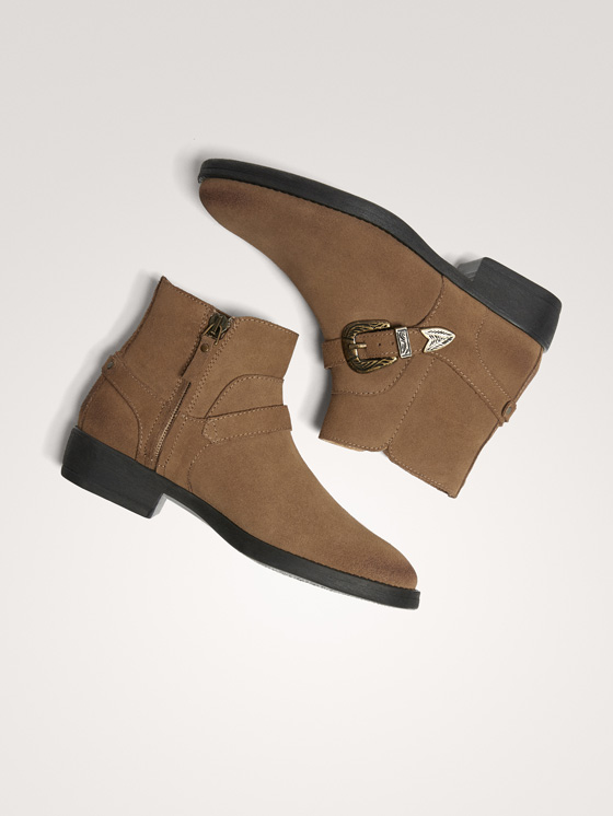 Massimo Dutti - BUCKLED SPLIT SUEDE ANKLE BOOTS - 9