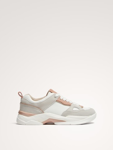 WHITE LEATHER FASHION TRAINERS