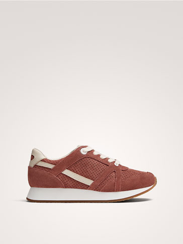 PINK SPLIT SUEDE TRAINERS
