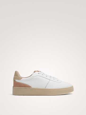 WHITE AND PINK TUMBLED LEATHER TRAINERS