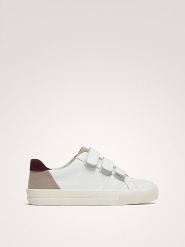 CONTRAST LEATHER PLIMSOLLS WITH HOOK-AND-LOOP STRAPS