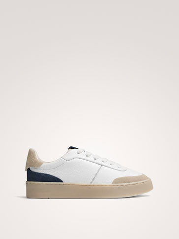 WHITE AND BLUE LEATHER TRAINERS