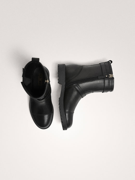 Massimo Dutti - BLACK LEATHER DOUBLE BUCKLE BIKER BOOTS - 3