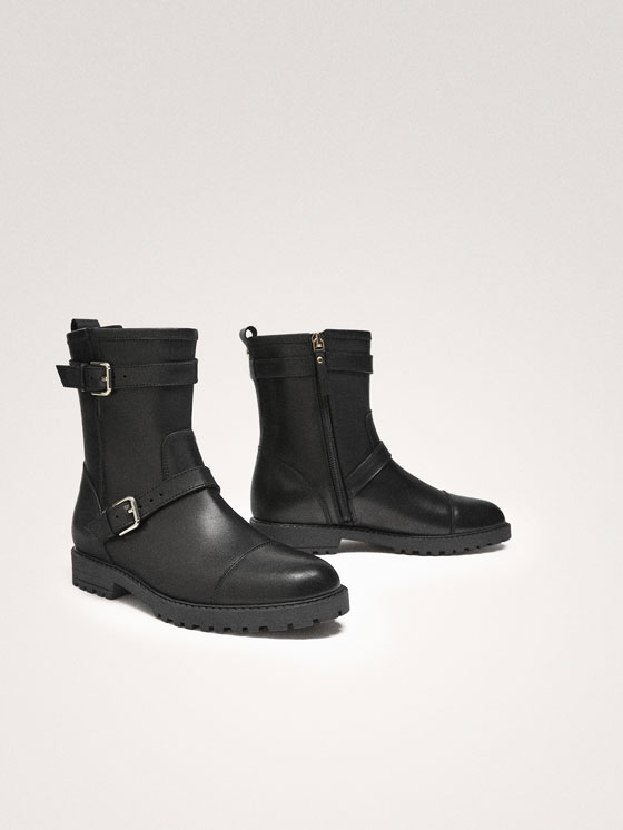 Massimo Dutti - BLACK LEATHER DOUBLE BUCKLE BIKER BOOTS - 4