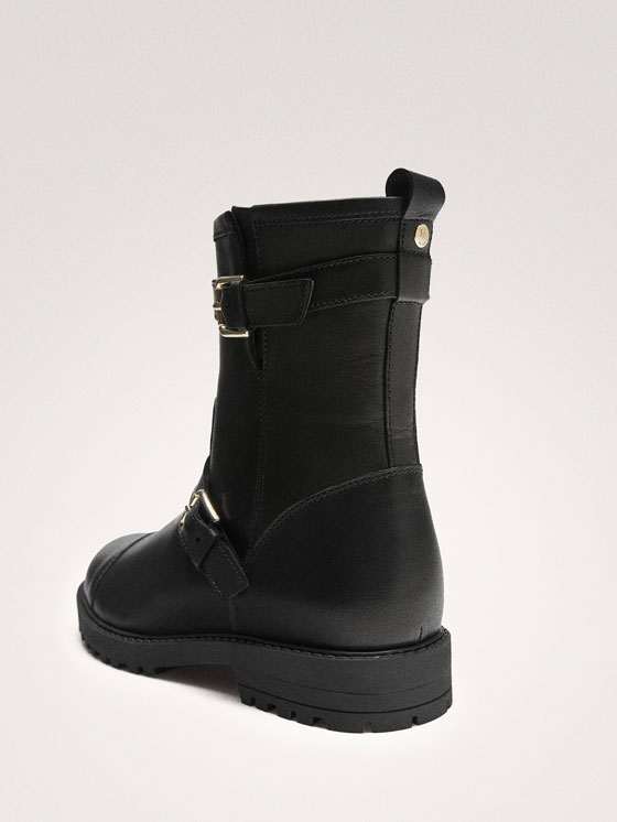 Massimo Dutti - BLACK LEATHER DOUBLE BUCKLE BIKER BOOTS - 5