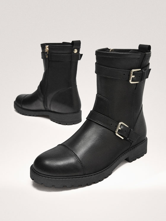 Massimo Dutti - BLACK LEATHER DOUBLE BUCKLE BIKER BOOTS - 6