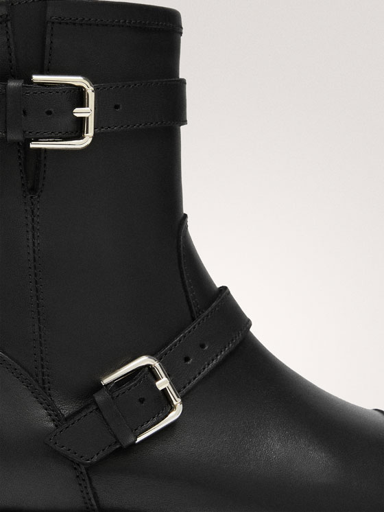 Massimo Dutti - BLACK LEATHER DOUBLE BUCKLE BIKER BOOTS - 8