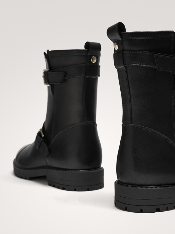 Massimo Dutti - BLACK LEATHER DOUBLE BUCKLE BIKER BOOTS - 2
