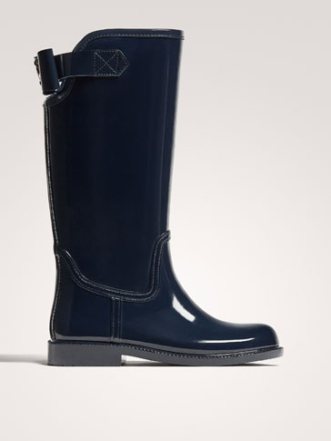 BLUE WELLIES WITH BOW DETAIL